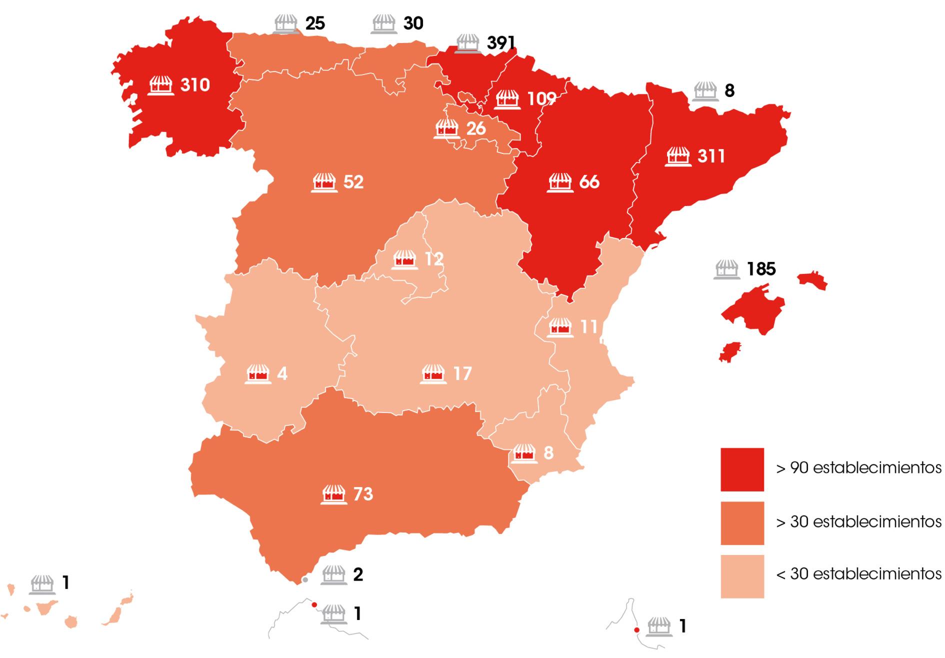 Maña de tiendas establecimiento Eroski en España